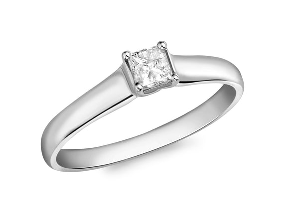 18ct White Gold 0.33ct Diamond Square Solitaire Ring