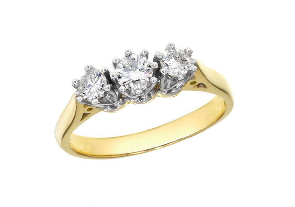 18ct Yellow Gold 0.50ct Diamond 3-Stone Ring