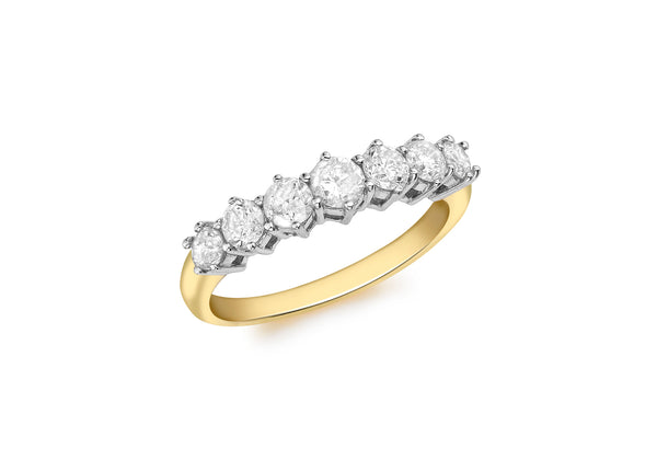 18ct Yellow Gold 1.00t Diamond 7-Stone Eternity Ring