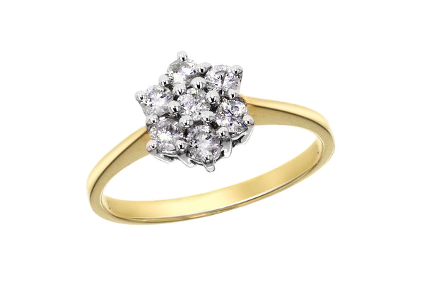 18ct Yellow Gold 0.50ct Diamond 7-Stone Cluster Ring
