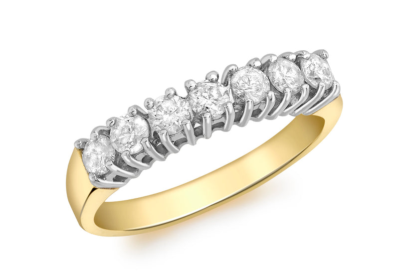 18ct Yellow Gold 0.50ct Diamond 7-Stone Eternity Ring