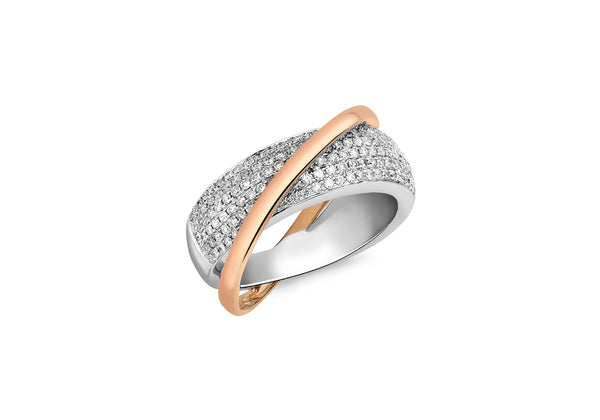 1.00ct Diamond Pave Set Two-Tone Gold Crossover Ring
