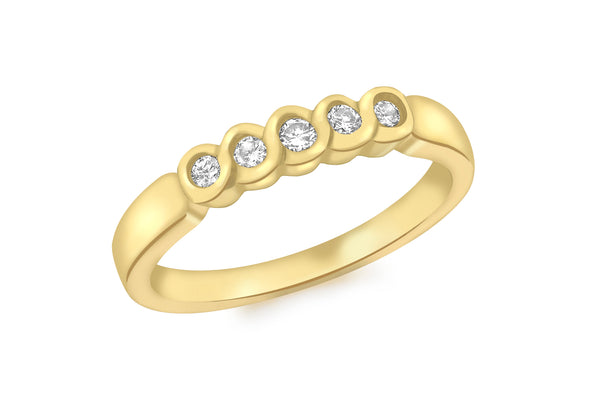 18ct Yellow Gold 0.18ct Diamond 5-Stone Rubover Set Half Eternity Ring