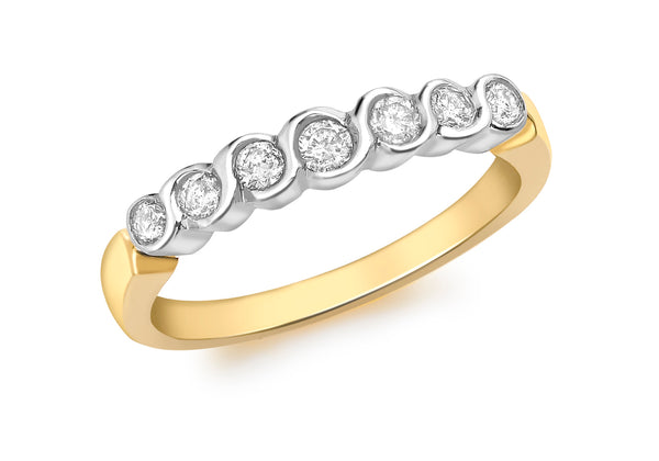 Diamond 7-Stone Eternity Ring 18ct 2-Colour Gold