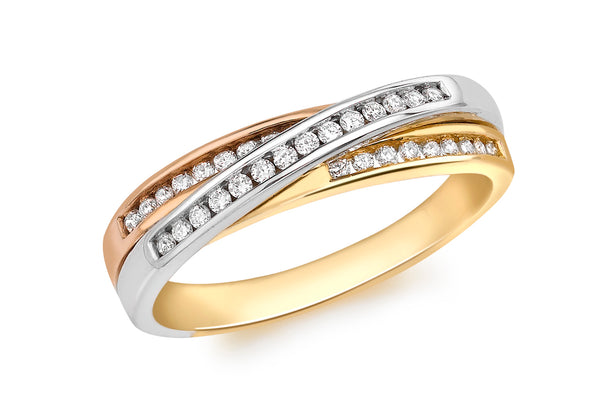 Gold Diamond Russian Ring 18ct 3-Colour9