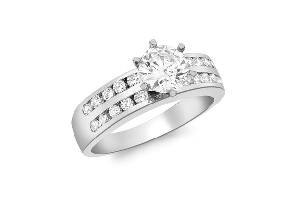 Solitaire Zirconia  Stone Set Ring 18ct White Gold