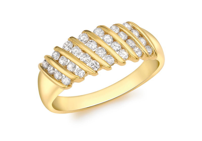 18ct Yellow Gold 0.50ct Diamond Candy Stripe Ring