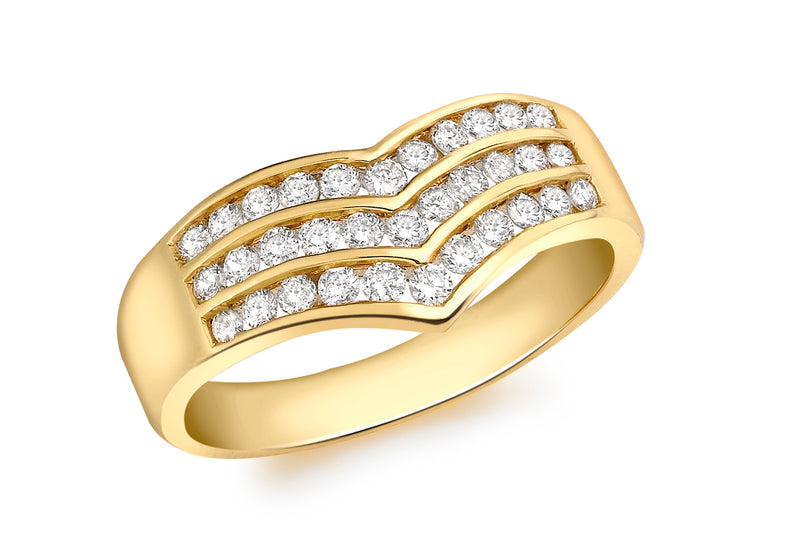 18ct Yellow Gold 0.50ct Diamond Triple Row Wishbone Ring