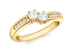 18ct Yellow Gold 0.50ct Diamond Crossover Ring