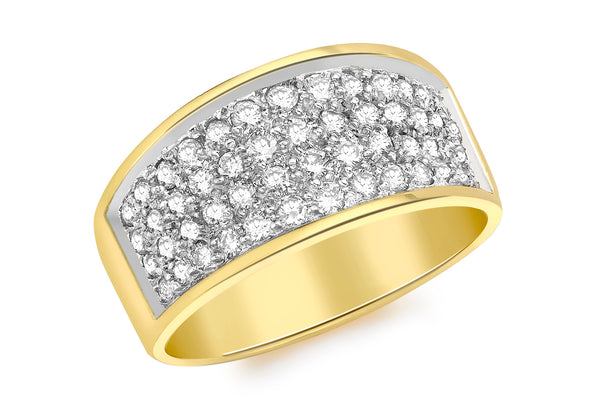 18ct Yellow Gold 1.00t Diamond 4-Row Pave Set Ring