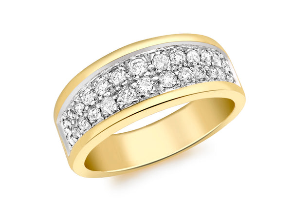 18ct Yellow Gold 0.50ct Diamond Double Row Pave Set Ring