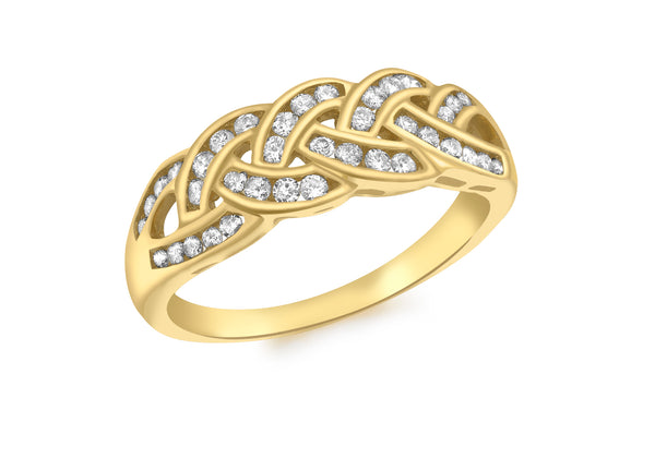 18ct Yellow Gold 0.50ct Diamond Channel Set Plait Ring