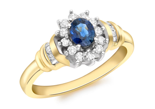 18ct Yellow Gold 0.25t Diamond Shoulder and Sapphire Flower Cluster Ring
