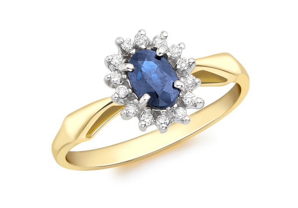 18ct Yellow Gold 0.10ct Diamond and Sapphire Flower Cluster Ring