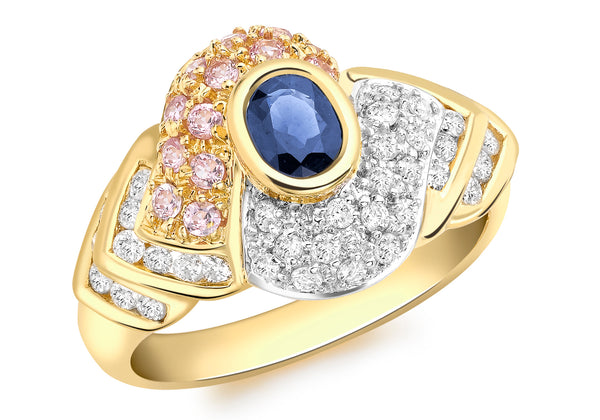 Diamond with Pink and Blue Sapphire Pave Set Ring 18ct Yellow Gold