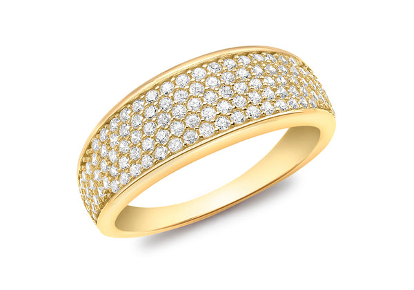18ct Yellow Gold CZ Pave Set Tapered Ring