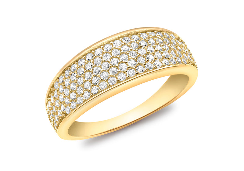 18ct Yellow Gold Zirconia  Pave Set Tapered Ring