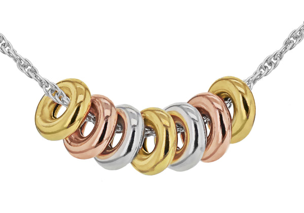 "Sterling Silver Yellow and Rose Gold Plated Rings on Prince of Wales Chain Necklace  46m/18""9"