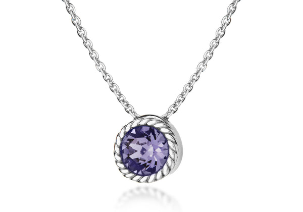 "Sterling Silver Violet Swarovski Crystal Deember Birthstone Necklace  46m/18""9"