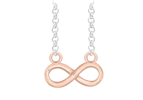 "Sterling Silver Rose Gold Plated Diamond Cut Infinity Belcher  Chain Necklace  46m/18""9"