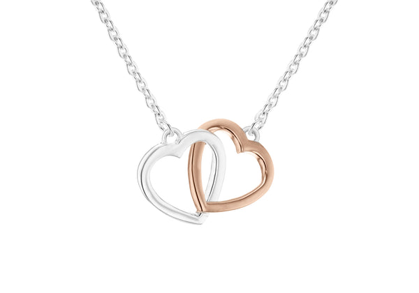"Sterling Silver White and Rose Gold Plated 21mm x 15mm Double-Heart Necklet 46m/18""-48.25m/19""9"