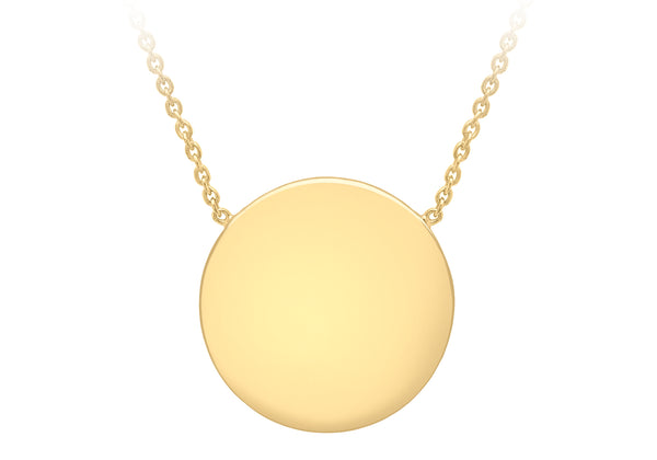 "Sterling Silver Yellow Gold Plated 15mm Polished Disc Adjustable Necklace  41m/16""-43m/17""9"