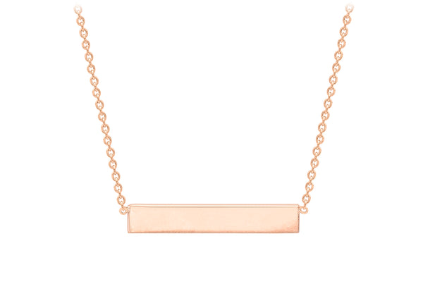 "Sterling Silver Rose Gold Plated 32mm x 5mm Horizontal Bar Necklace  43m/17""9"