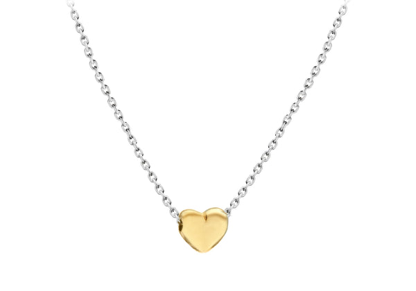 "Sterling Silver Yellow Gold Plated Tiny Heart Adjustable Necklace  41m/16""-46m/18""9"