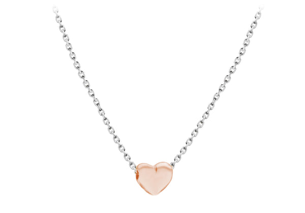 "Sterling Silver Rose Gold Plated 5mm x 6mm Heart Adjustable Necklace  41m/16""-46m/18""9"