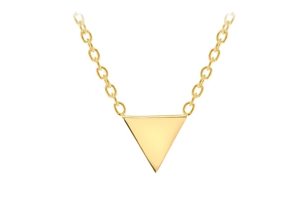 "Sterling Silver Yelllow Gold Plated 8mm x 6mm Triangle Necklet 46m/18""9"