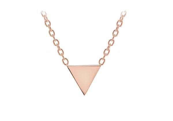 "Sterling Silver Rose Gold Plated 8mm x 6mm Triangle Necklet 46m/18""9"