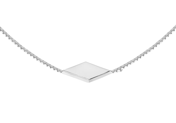 "Sterling Silver Diamond Shaped Station Necklet 46m/18""9"
