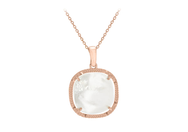 "Sterling Silver Rose Gold Plated Square Mother of Pearl Adjustable Necklace  41m/16""-43m/17""9"