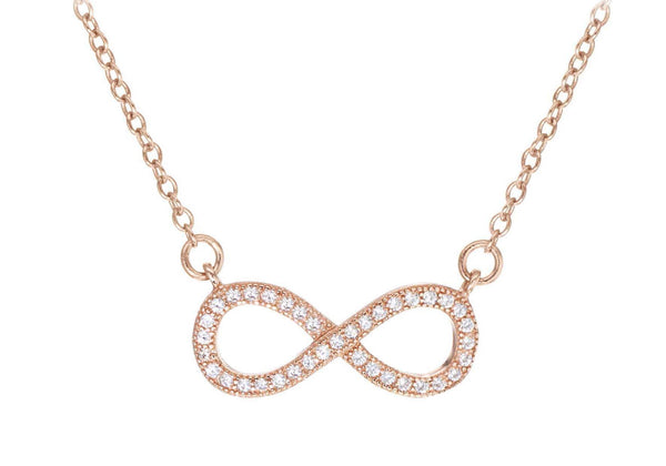 Sterling Silver Rose Gold Plated Zirconia  Set Infinity Adjustable Necklace
