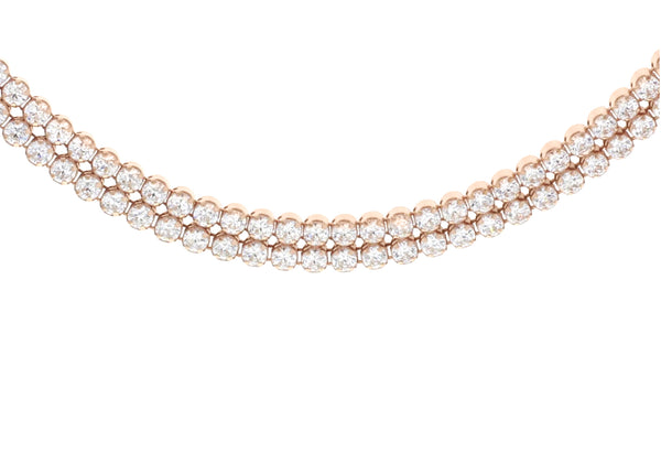"Sterling Silver Rose Gold Plated Double Row Zirconia  Tennis Necklace  42m/16.5""9"