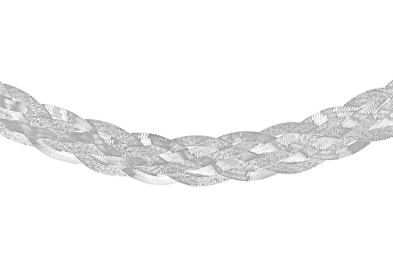 "Sterling Silver Patterned & Polished 6-Strand Plaited Herringbone Necklace  43m/17""9"