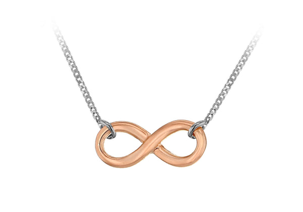 "Sterling Silver Rose Gold Plated Infinity Necklace  46m/18""9"
