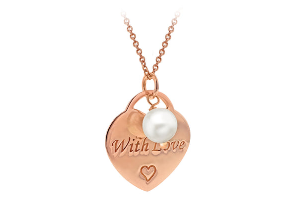 "Sterling Silver Rose Gold Plated 'With Love' Heart and Pearl Adjustable Necklace  41m/16""-46m/18""9"