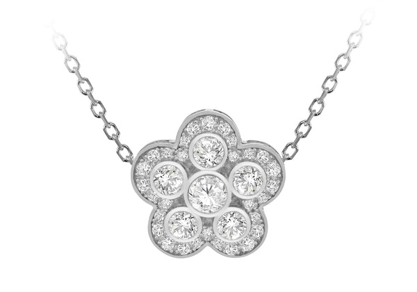 "Sterling Silver Rhodium Plated White Zirconia  18mm x 17.6mm Flower Adjustable Necklace  43m/17""-46m/18""9"