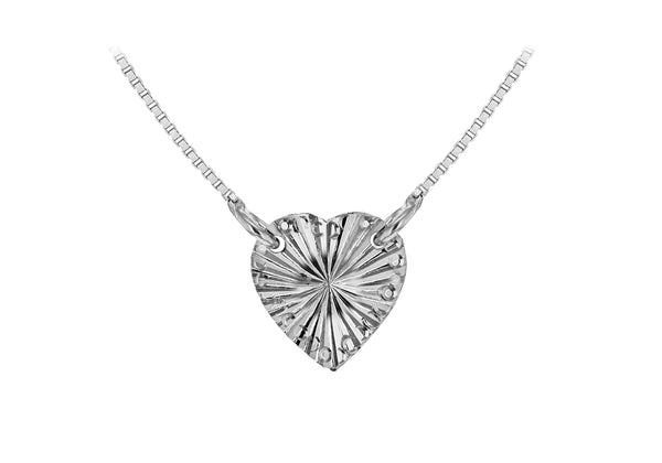 "Sterling Silver Rhodium Plated Diamond Cut Heart Adjustable Necklace  41m/16""-46m/18""9"