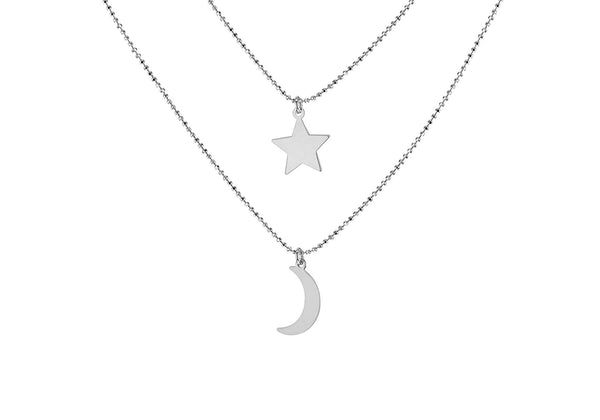 Sterling Silver Star Diamond Cut Ball Chain Necklace