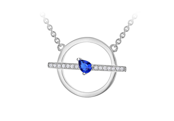 Sterling Silver Rhodium Plated White and Blue Zirconia Circle & Bar Adjustable Necklace