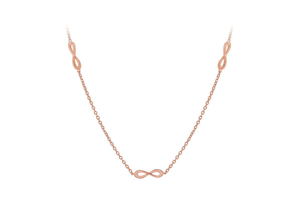 "Sterling Silver Rose Gold Plated Five 'Figure 8' Adjustable Necklace  43m/17""-46m/18""9"