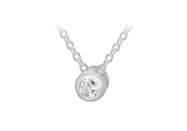 "Sterling Silver White 3mm Zirconia  April Birthstone Adjustable Necklace  41m/16""-46m/18""9"