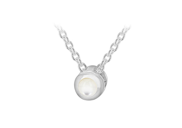 "Sterling Silver White 3mm Cabochon Mother of Pearl June Birthstone Adjustable Necklace  41m/16""-46m/18""9"