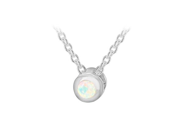 Sterling Silver White Cabochon Synthetic Opal October Birthstone Adjustable Necklace