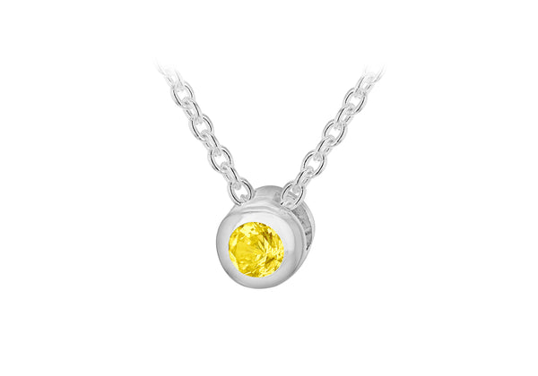 "Sterling Silver Yellow 3mm Zirconia  November Birthstone Adjustable Necklace  41m/16""-46m/18""9"
