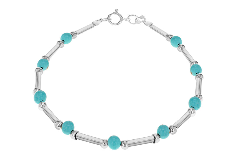 "Sterling Silver Turquoise Bead and Bar Bracelet 19m/7.5""9"