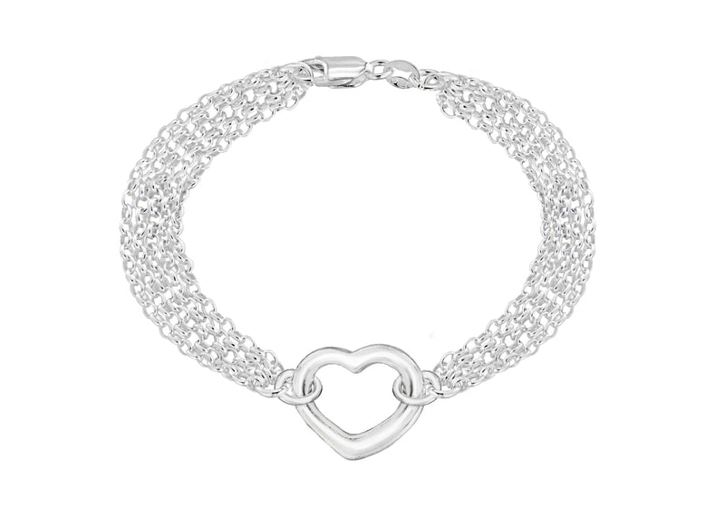 "Sterling Silver 5 Strand Chain and Heart Bracelet 18m/7""9"