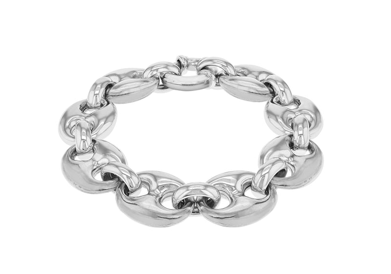 "Sterling Silver Rhodium Plated 17mm Marine Bracelet 20m/8""9"